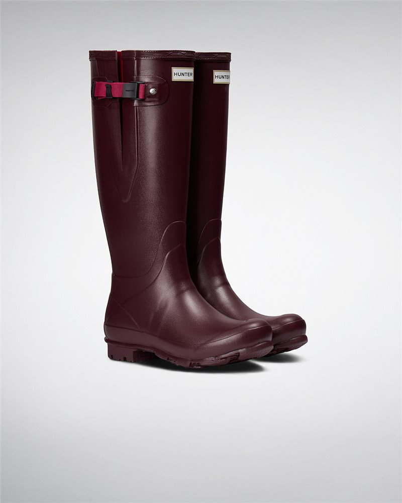 22c48c104de Hunter Womens Norris Field Side Adjustable Wellington Boots -  Burgundy/Raspberry