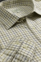 Hoggs of Fife Pure Cotton Tattersall Check Shirt Brown/Gold/Navy