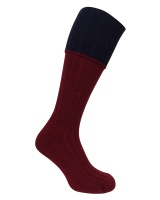Hoggs of Fife - Contrast Turnover Top Stockings - Burgundy