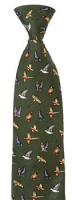 Hoggs of Fife Silk Country Tie Green - Mixed Game Birds Motif