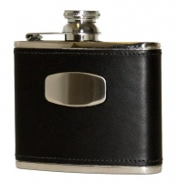 Bisley 4oz Black Leather Flask