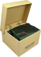 Jack Pyke Tie, Hanky and Cufflinks Gift Set - Pheasant - Green