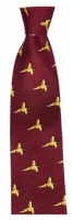 Hoggs of Fife Silk Country Tie Wine - Flying Game Birds