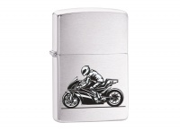 Zippo Bike & Rider Brushed Chrome Regular Lighter