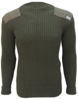 Niffi Ecosse Forrester Crew Neck with Harris Tweed Patches - Olive and Green Mix Herringbone