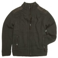 Hoggs of Fife Orkney Mens Knitted Jacket - Green